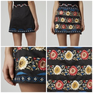 PETITE Silk Embroidered A-Line Skirt